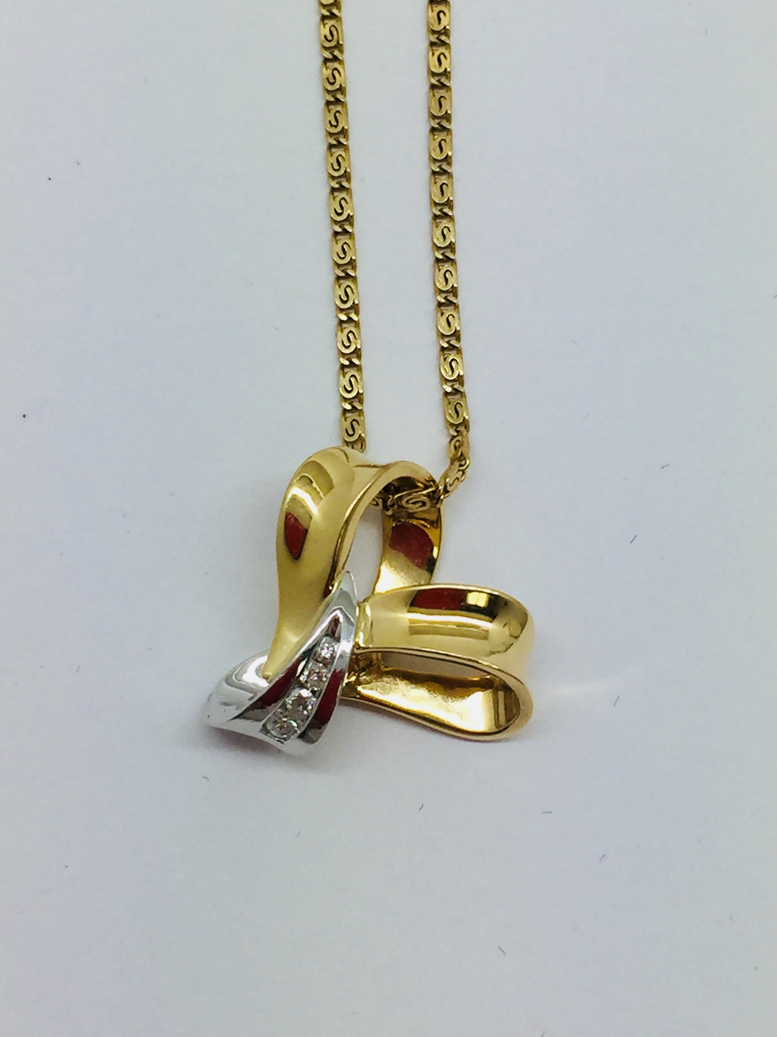 14k Solid Two Tone Gold Diamond Slide Pendant & Chain