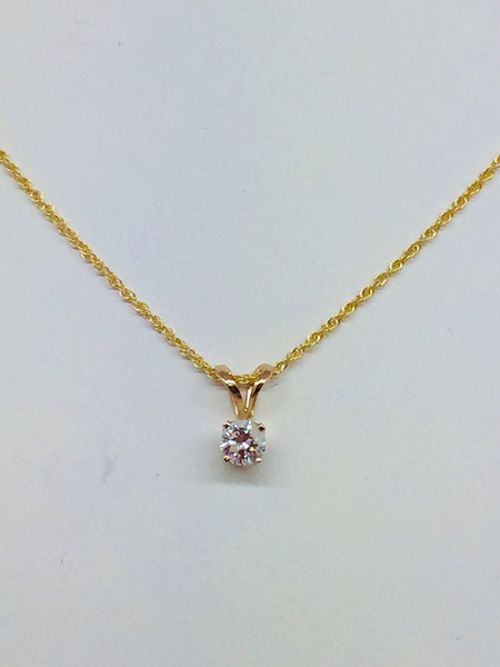 14k Solid Gold Diamond Pendant & Chain