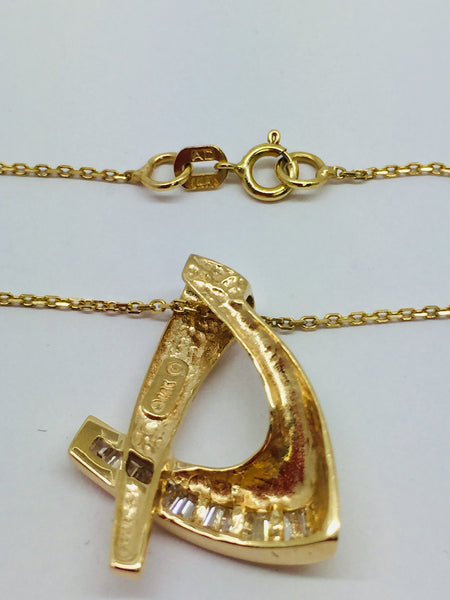 14k Solid Gold Diamond Slide Pendant & Chain