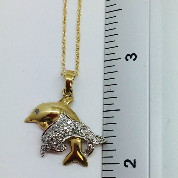 10k Solid Gold Dolphin Pendant with Diamonds & Chain, 16""