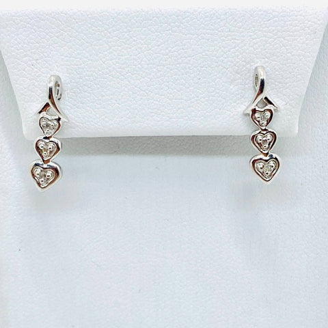 14k White Gold Diamond 3 Heart Earrings