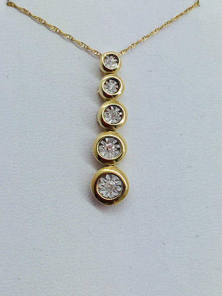 10k Solid Gold Diamond Pendant & Chain, 16""