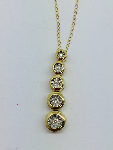 10k Solid Gold Diamond Pendant & Chain