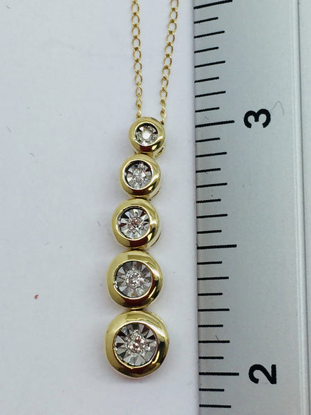 10k Solid Yellow Gold Diamond Pendant & Chain, 16""