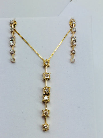 10k Solid Gold Diamond Pendant, Chain & Earrings Set