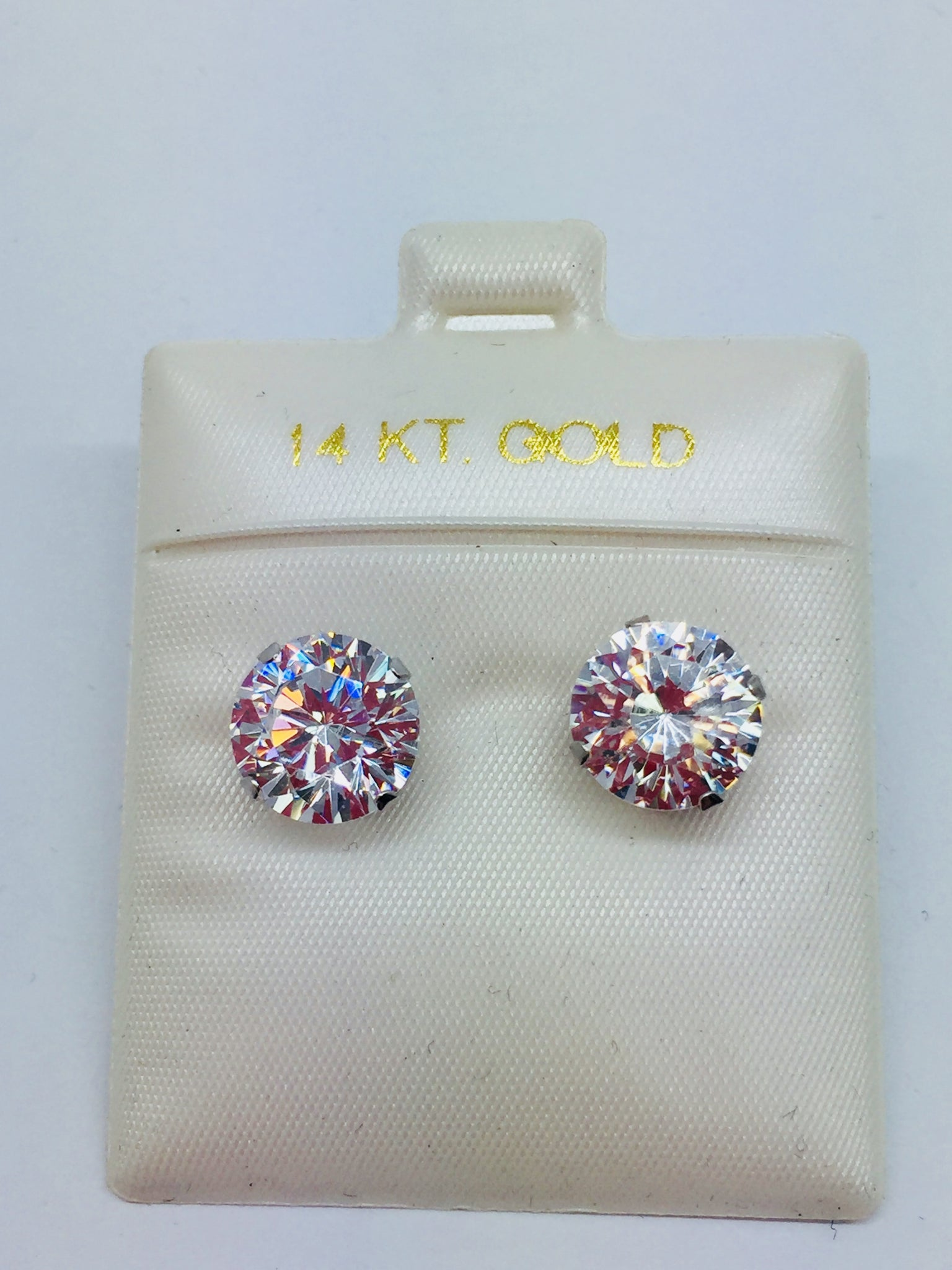 14k Solid White Gold Cubic Zirconia Earrings