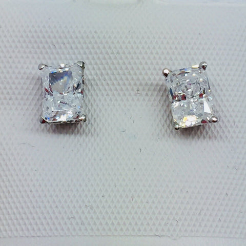 14k Solid White Gold Cubic Zirconia Emerald Cut Earrings, 7mm x 5mm