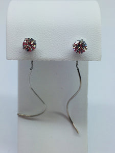 14k Solid White Gold Cubic Zirconia Threader Dangling Earrings,