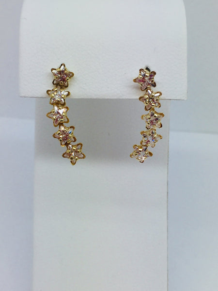 14k Solid Yellow Gold Cubic Zirconia CZ Star Dangling Post Earrings