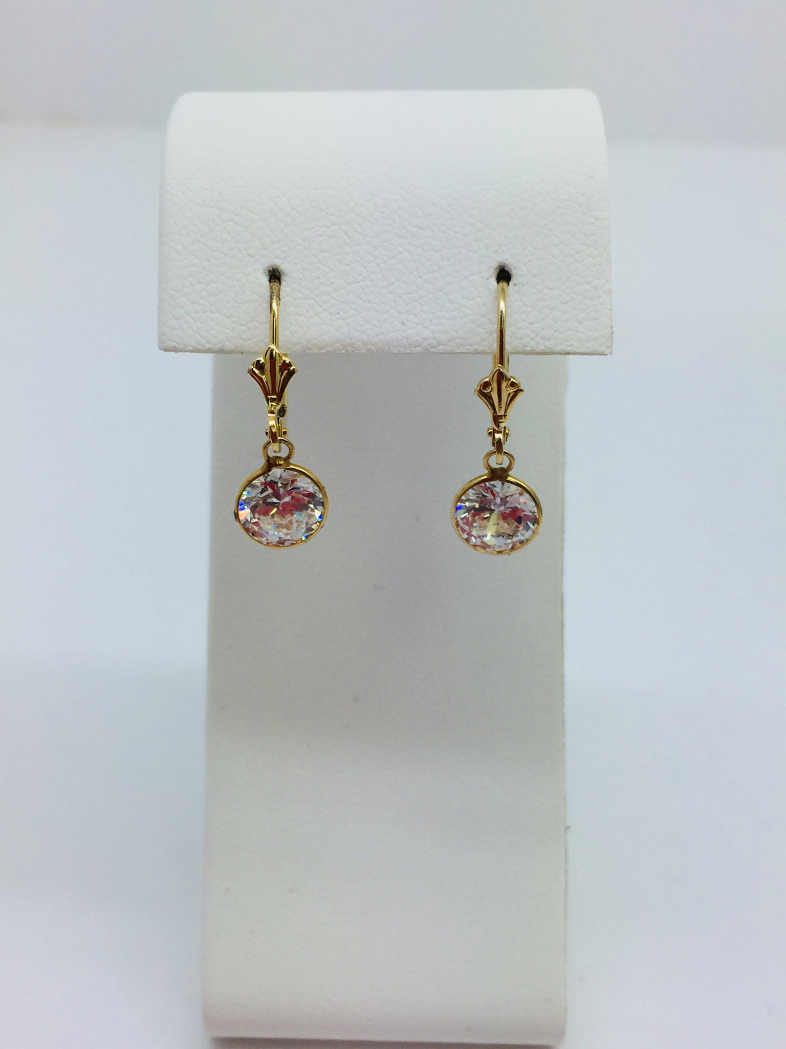 14k Solid Yellow Gold Cubic Zirconia Round Leverback Dangle Earrings