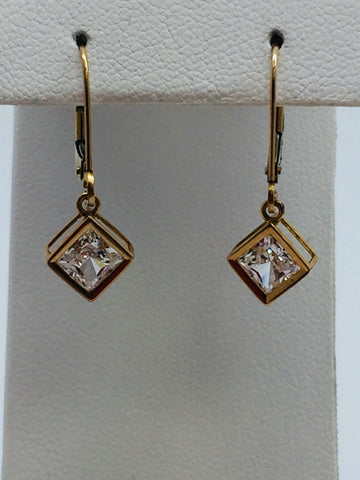 10k Solid Yellow Gold Cubic Zirconia Square Dangle Leverback Earrings