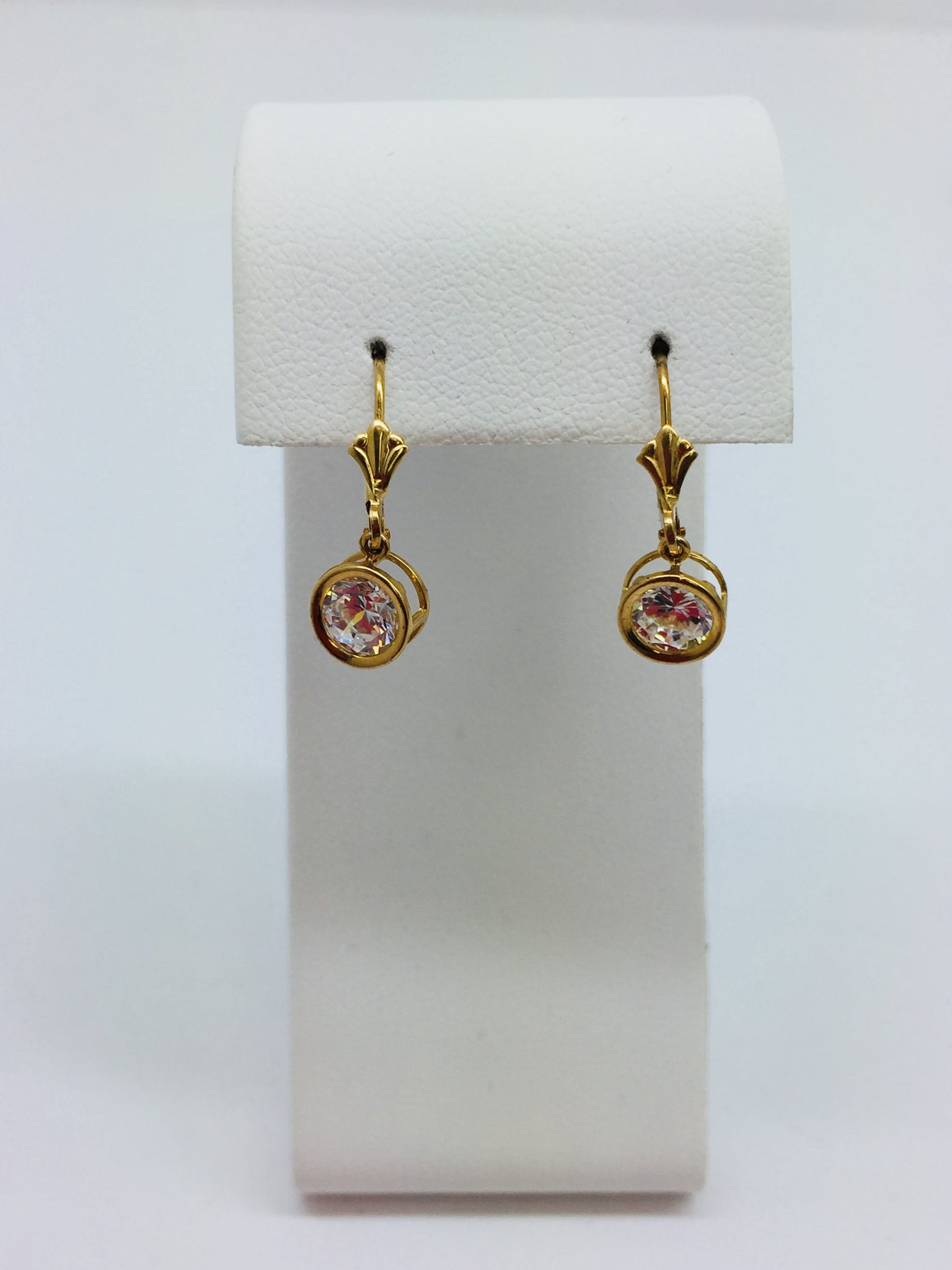 14k Solid Yellow Gold Cubic Zirconia CZ Leverback Earrings
