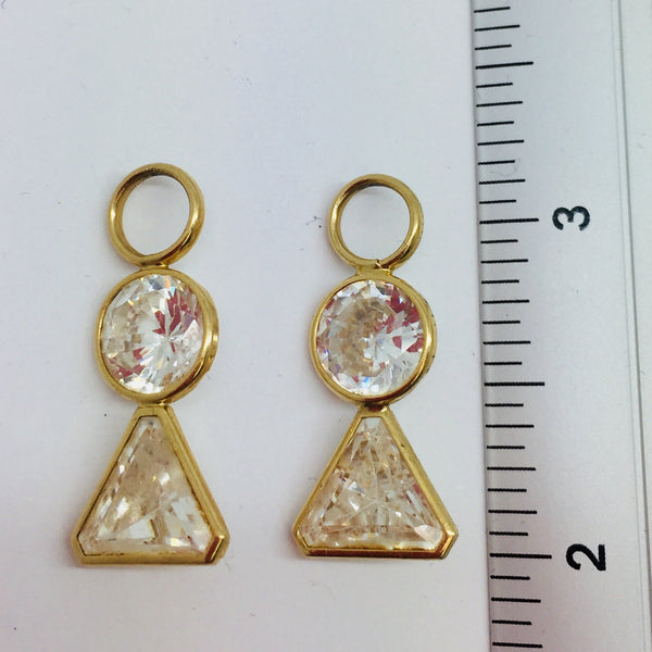 14k Solid Yellow Gold Cubic Zirconia Dangling Hoop Dangle Enhancer