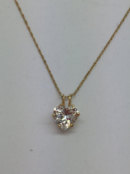 14k Solid Gold Cubic Zirconia Heart Pendant & Chain