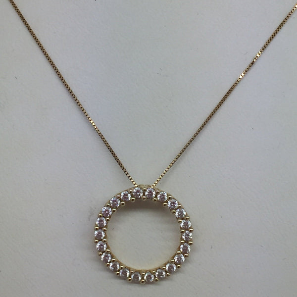 14k Solid Yellow Gold Cubic Zirconia Open Circle Pendant & Chain, 18""