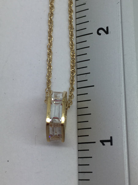 14k Solid Yellow Gold Cubic Zirconia Pendant & Chain, 16""