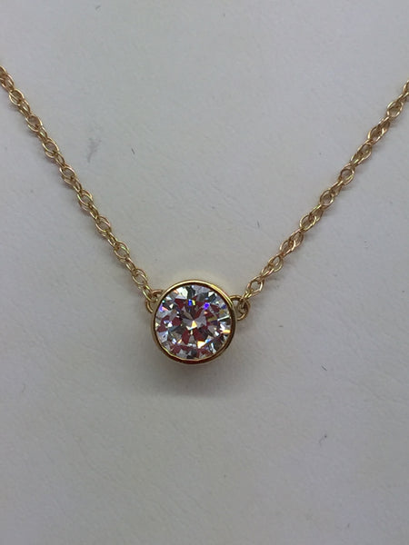14k Solid Yellow Gold Cubic Zirconia CZ 10mm Circle Pendant & Chain