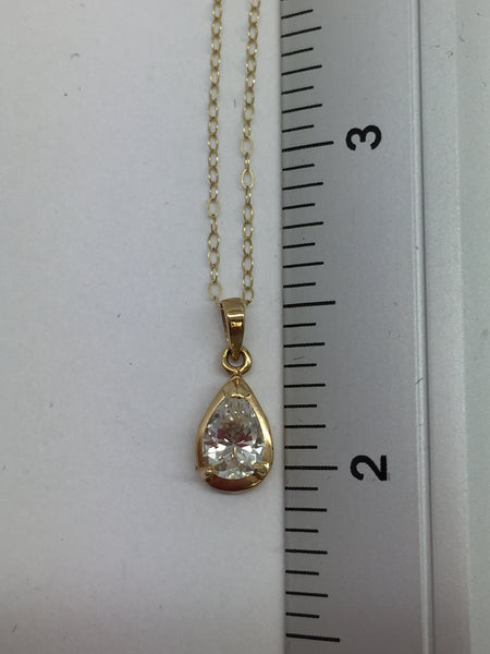 14k Solid Gold Cubic Zirconia Pendant & Chain