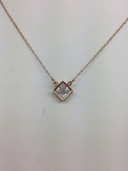 14k Solid Gold Cubic Zirconia Pendant Yellow Gold & Chain