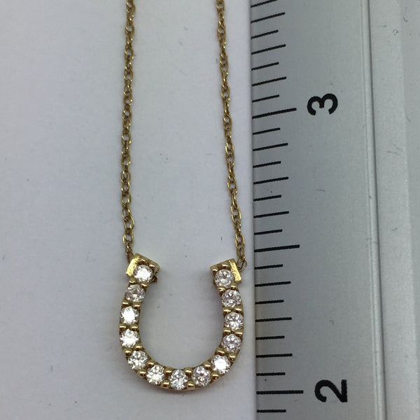14k Solid Gold Cubic Zirconia Horseshoe Pendant & Chain