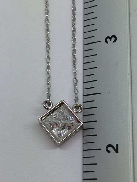 10k Solid White Gold Cubic Zirconia Pendant & Chain