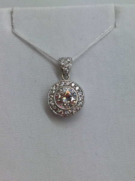 10k Solid White Gold Cubic Zirconia Pendant