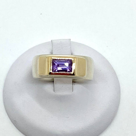 925 Solid Two Tone Sterling Silver Natural Amethyst Ladies Ring