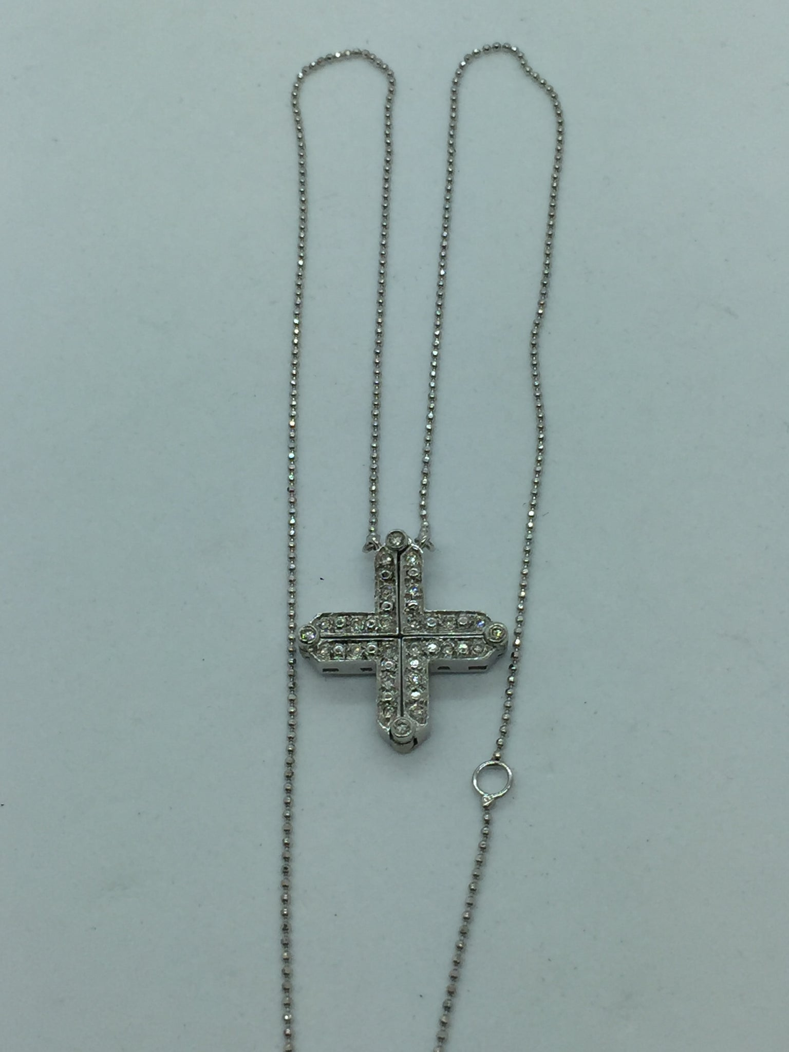14k White Gold Cross Conversion Necklace with Diamonds, .20CTW, 19""