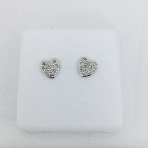 14k Solid White Gold .25 Carats Pave Diamond Heart Post Earrings