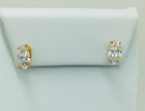 14k Yellow Gold Natural Cubic Zirconia Marquis CZ Post Stud Earrings 9mm X 5mm