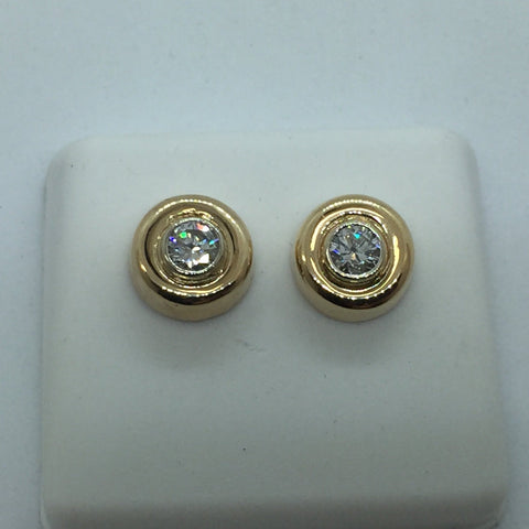 14k Solid Gold Diamond Screw Back Post Earrings