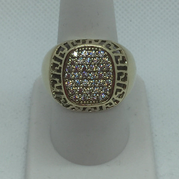 10k Yellow Solid Gold Cubic Zirconia Men's Ring, Size 11, 10 Grams