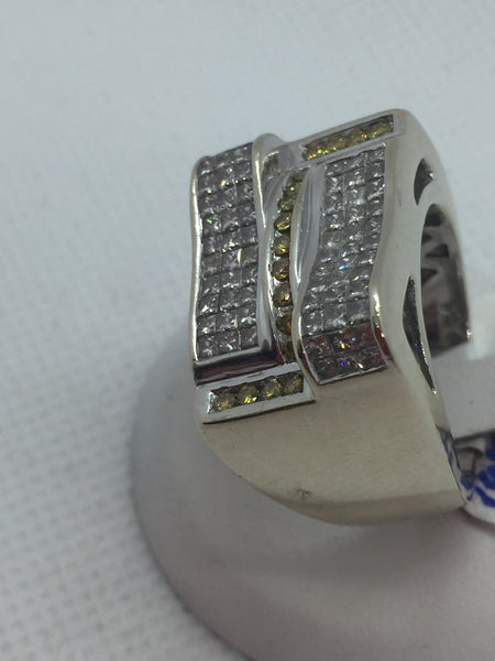 14k Solid White Gold Yellow & White Diamond Men's Ring