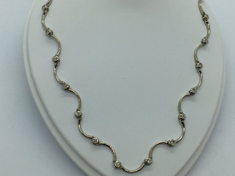 14k Solid White Gold Diamond Necklace