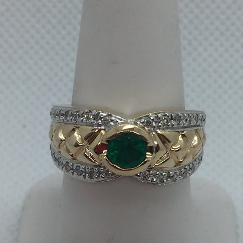 14k Solid Two Tone Gold Genuine Emerald & Diamond Ring