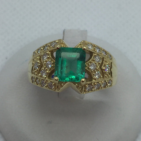 18k Solid Gold Genuine Emerald & Diamond Ring