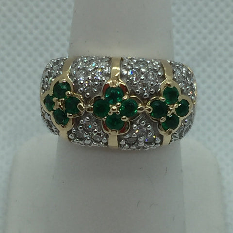 14k Solid Gold Genuine Emerald & Diamond Ring