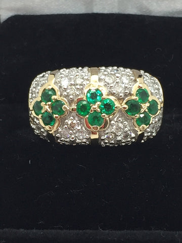 14k Solid Gold Genuine Emeralds & Diamonds Ring, Size 7