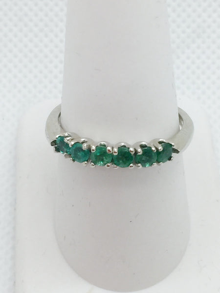 14k Solid White Gold Genuine Emeralds Band Ring, size 9
