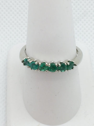 14k Solid White Gold Genuine Emerald Ring