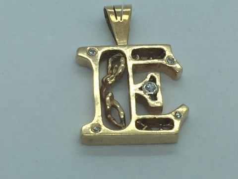 "14k Solid Gold Diamond ""E"" Pendant"
