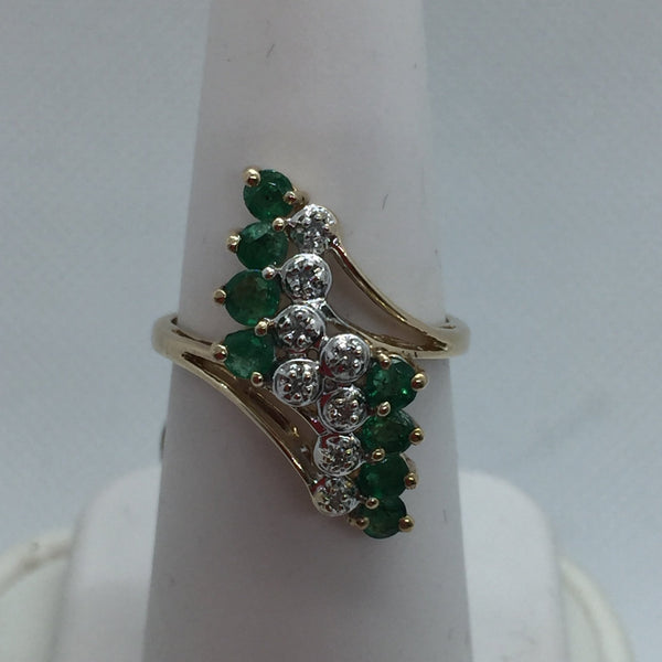 10k Solid Gold Genuine Emerald & Diamond Ring