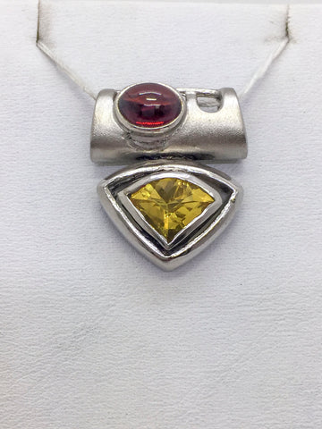 Solid Sterling Silver Gold Vermeil Garnet & Topaz Ladies Slide