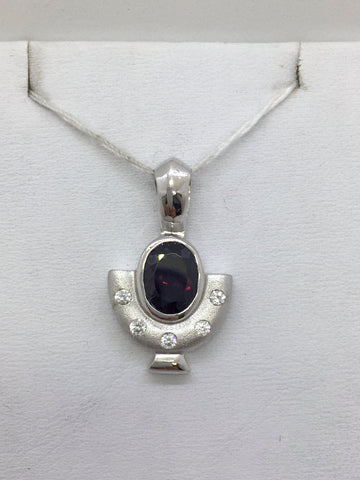 Solid Sterling Silver Gold Vermeil Garnet & CZ Ladies Slide
