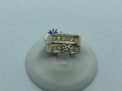 Vintage 14k Solid Gold Diamond Wedding Ring Set