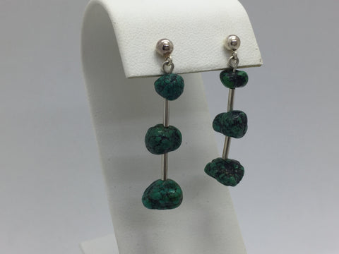 925 Sterling Silver Turquoise Nugget Drop Earrings