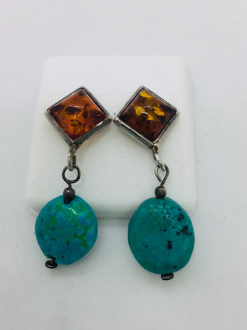 925 Sterling Silver Amber/Turquoise Drop Earrings