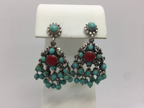 925 Sterling Silver Turquoise Red Stone Drop Earrings