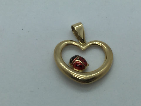 14Kt Gold Heart With Lady Bug Charm