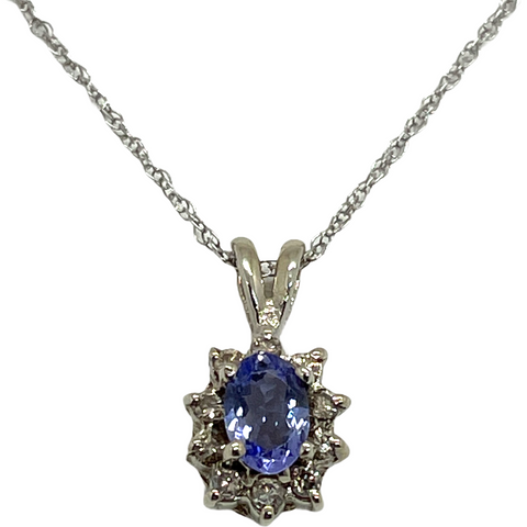 14k Solid White Gold Genuine Tanzanite & Diamond Pendant